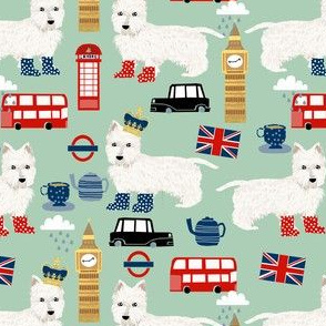 westie london travel england big ben dog breed fabric mint