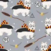 westie potter dog breed fabric grey
