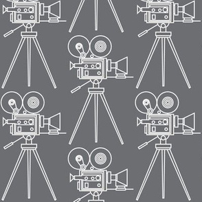 vintage-movie-cameras-white outline on charcoal