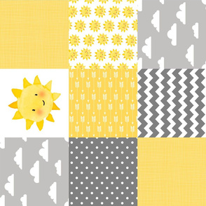 Neutral - Sunshine/Clouds - wholecloth Cheater Quilt - Rotate