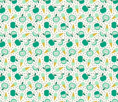 Apple summer ice cream party green fabric by heleen_vd_thillart on Spoonflower - custom fabric