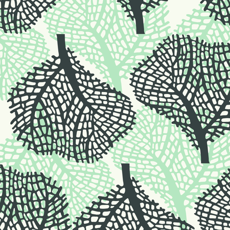 Coral - white - gray and green fabric by lulularch on Spoonflower - custom fabric