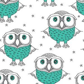 wise teal owls on white
