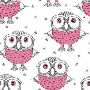wise pink owls on white