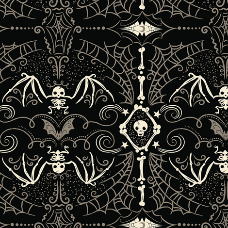 Spooky Bat Skeleton fabric by johannaparkerdesign on Spoonflower - custom fabric