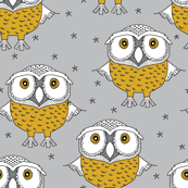 wise gold owls on grey