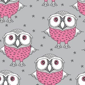 wise pink owls on grey