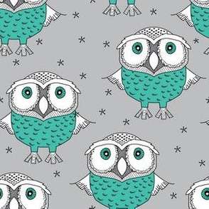 wise teal owls on grey