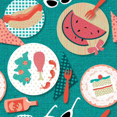 Retro BBQ by Mount Vic and Me fabric by mountvicandme on Spoonflower - custom fabric