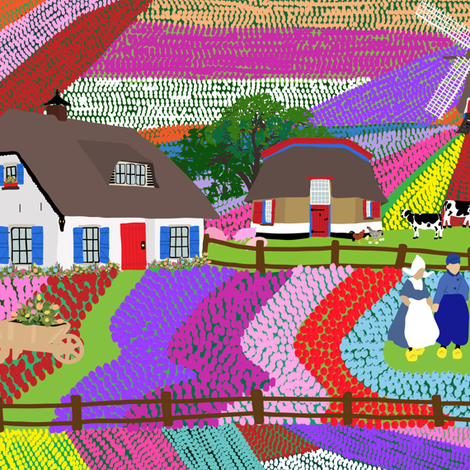 Dutch Tulip Farm fabric by elliottdesignfactory on Spoonflower - custom fabric