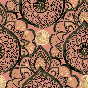 Dreamy Medallion_copper olive gold