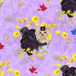 """Yorkie - Lilac & Flowers  3 1/2"""""""
