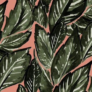 Feathery Leaves copper + olive