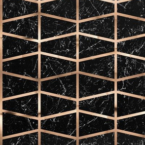 Copper grid on black marble