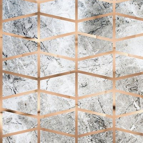 Copper grid on grey marble