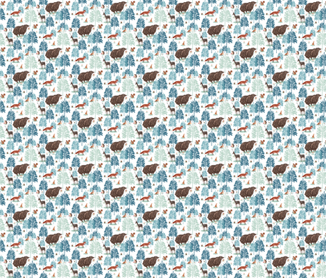 Winter forest snow smaller repeat fabric by susanmitchell on Spoonflower - custom fabric