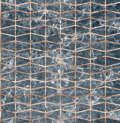 Copper grid on dark grey marble