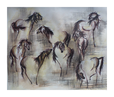 Faded Horses fabric by karry_l on Spoonflower - custom fabric