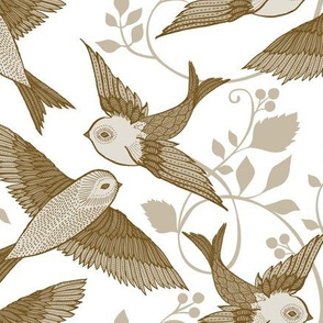 Antique Birds {White}
