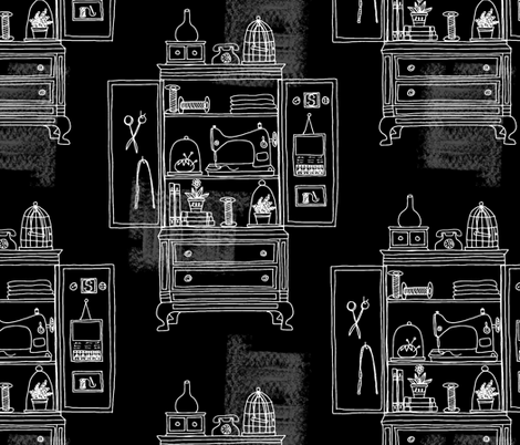 Into the cupboard ~ Midnight Musk fabric by retrorudolphs on Spoonflower - custom fabric