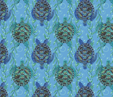 green sea turtles and bubbles fabric by leroyj on Spoonflower - custom fabric