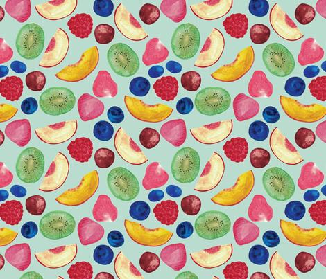 Summer Fruit Salad {Aqua} fabric by ceciliamok on Spoonflower - custom fabric