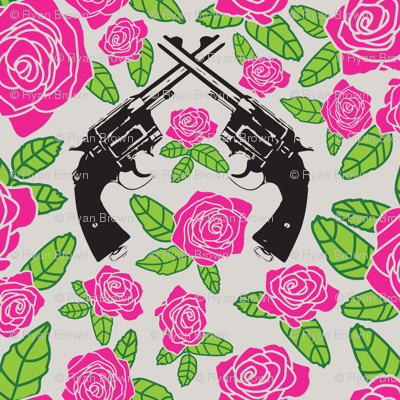 Vintage Revolvers on Pink Floral // Small