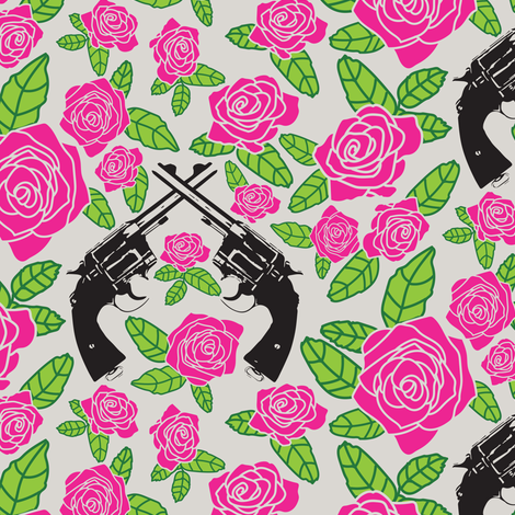 Vintage Revolvers on Pink Floral // Small fabric by thinlinetextiles on Spoonflower - custom fabric