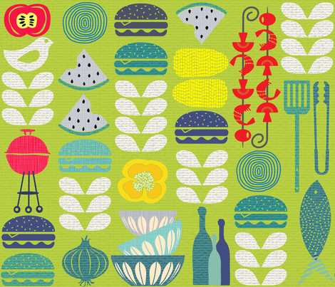 Mid-Century Cookout fabric by honoluludesign on Spoonflower - custom fabric