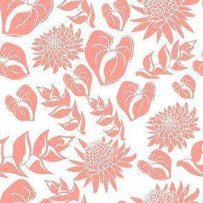 Hawaiian floral in coral