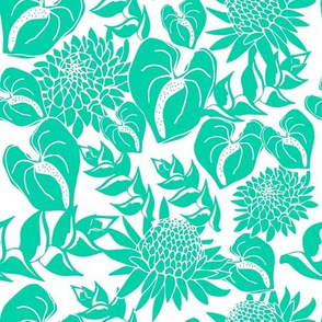 Teal tropical floral