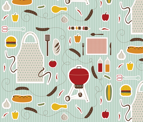 String O' Sausages fabric by mobijo on Spoonflower - custom fabric