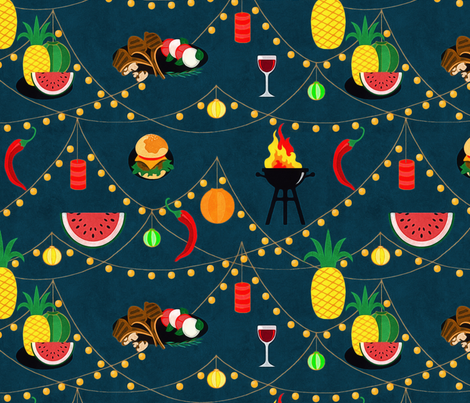 summer evening barbecue fabric by dessineo on Spoonflower - custom fabric