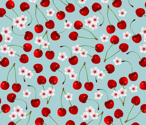 cherry pattern fabric by cafelab on Spoonflower - custom fabric