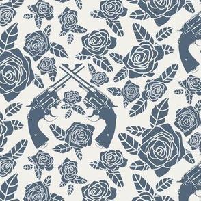 Vintage Revolvers in Grey-Azure & Alabaster Floral // Small