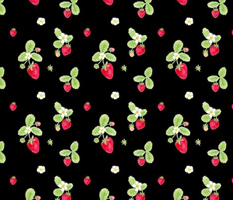 strawberries on black / childrens room baby nursery kids fabric by houseintheorchard on Spoonflower - custom fabric