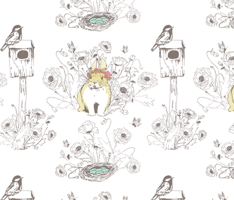 Bunny in the Garden fabric by fat_bird_designs on Spoonflower - custom fabric