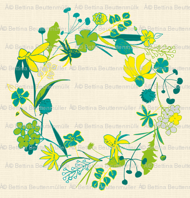 Floral wreath on linen