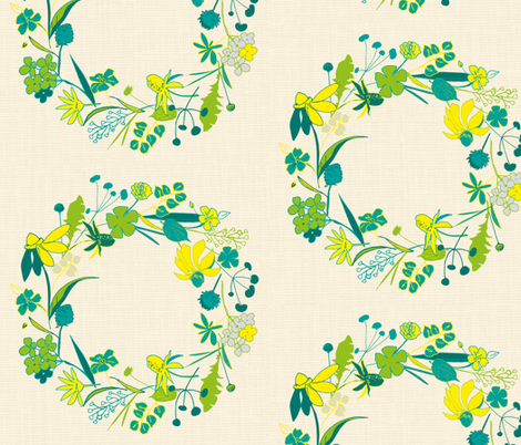 Floral wreath on linen fabric by freudenwerkstatt on Spoonflower - custom fabric