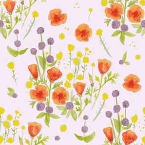 wildflowers watercolor on lilac / nursery baby kids floral design