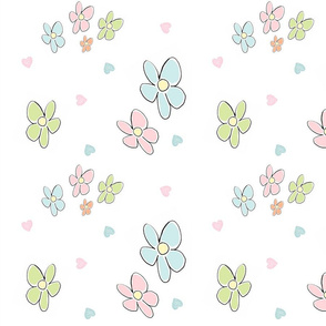Spring flowers hearts - LARGE 105 pastel