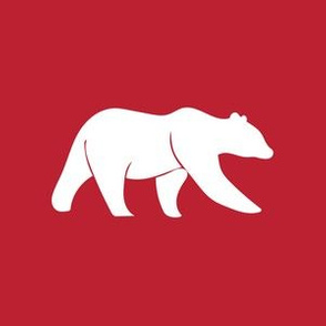 """6"""" bear on red (quilt block)"""