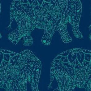 henna_elephant-dark blue and teal