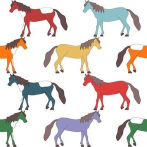 Horses in Rainbow Colors