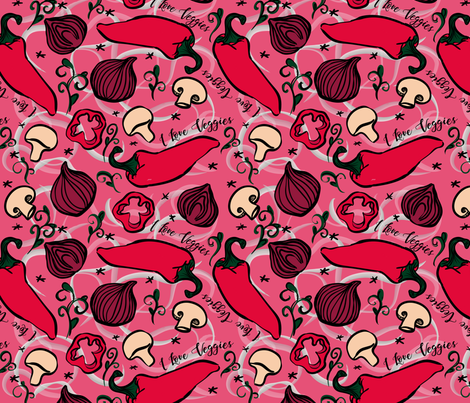 I Love Veggies - pink fabric by nafabian_design on Spoonflower - custom fabric
