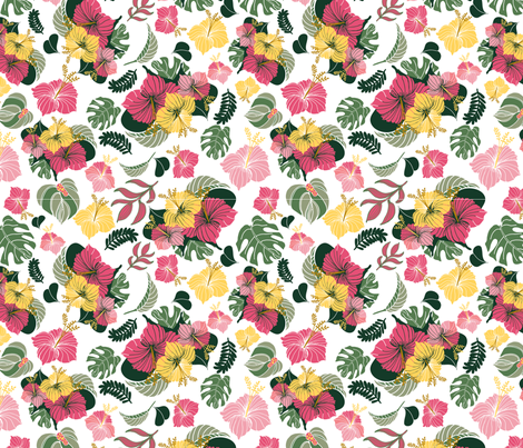 Tropical Floral fabric by mlwade on Spoonflower - custom fabric