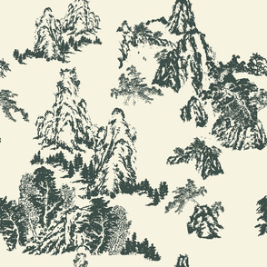 Landscapes by Shirley, Black Toile on Linen