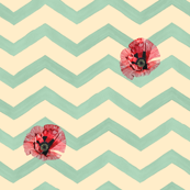 Aqua Watercolor Chevron with Poppies, Large