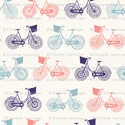 Doodle bicycle wheels - white
