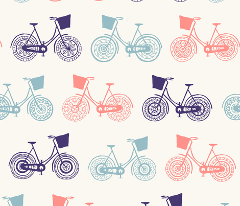 Doodle bicycle wheels - white fabric by diseminger on Spoonflower - custom fabric